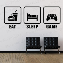 Eat Sleep Game Wall Sticker Decals Home Decor Gaming Teen Boys Bedroom Vinyl Adhesive Removable Murals Play Room PW213