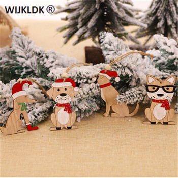 Christmas Ornaments Cartoon Dog Christmas Tree Hanging Wooden Car Pendants Christmas Decoration for Home 2020 Navidad New Year-S image