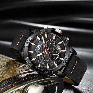 Image 2 - 2020 أفضل ماركة ساعة الرجال MEGALITH الفاخرة الرياضة كرونوغراف مقاوم للماء ساعة الرجال الأسود حزام من الجلد ساعة للرجال Relojes Hombre