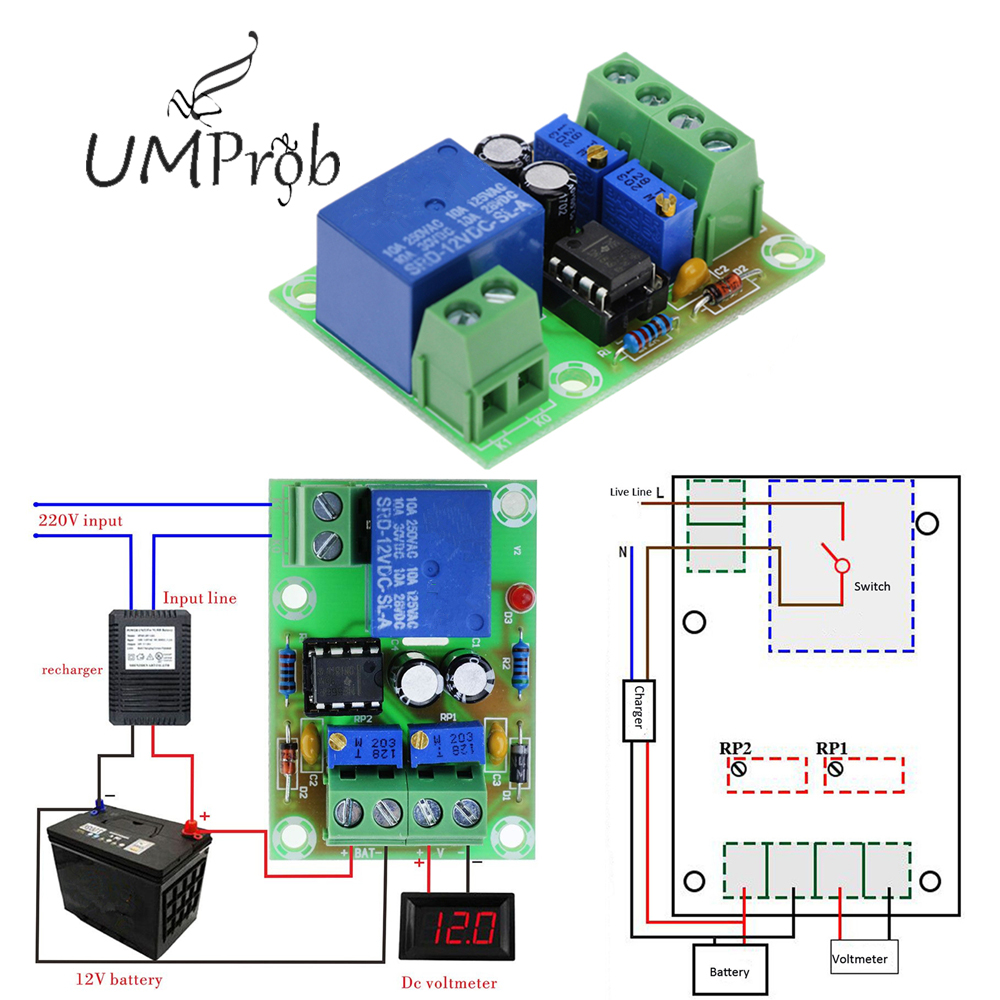 XH-M601 Intelligent Charger Power Control Panel Automatic Charging Power 12V Battery Charging Control Board For Diy Kit