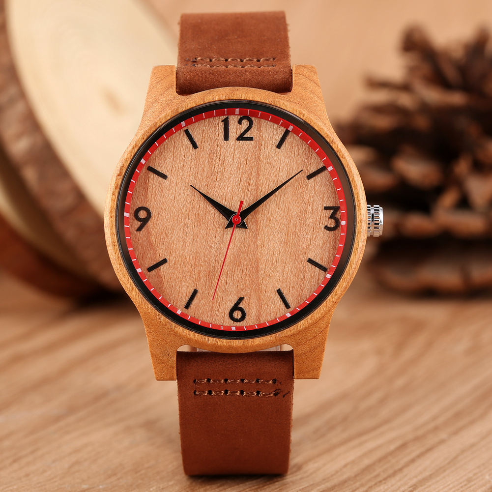 2020 Women Watch Wooden Watches  Ladies Dress Watch Fashion Casual Brown Leather Band Analog Simple Female Watches Reloj Mujer