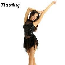 TiaoBug kadınlar kolsuz Halter parlak pul düzensiz örgü Splice artistik patinaj elbise jimnastik Leotard bale dans kostümü