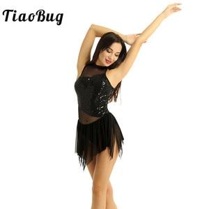 Image 1 - Tiaobug fantasia feminina sem mangas, collantejoulas brilhantes malha irregular emendada figura patinar ginástica collant traje de dança do balé