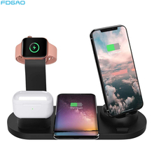 10W Qi Wireless Charger Dock Station 4 in 1 For iPhone 11 XS Airpods Pro Micro USB Type C Stand Fast Charging For Apple Watch 5