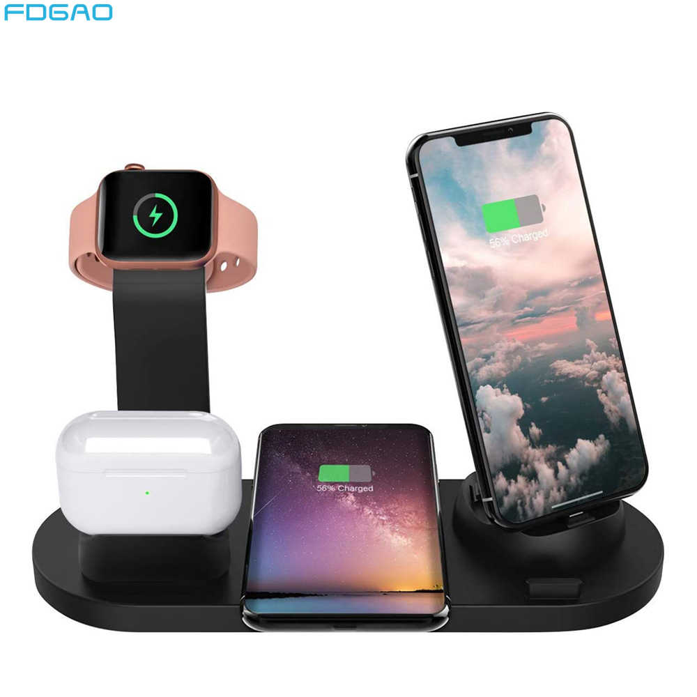 10w Qi Wireless Charger Dock Station 4 In 1 For Iphone 11 Xs