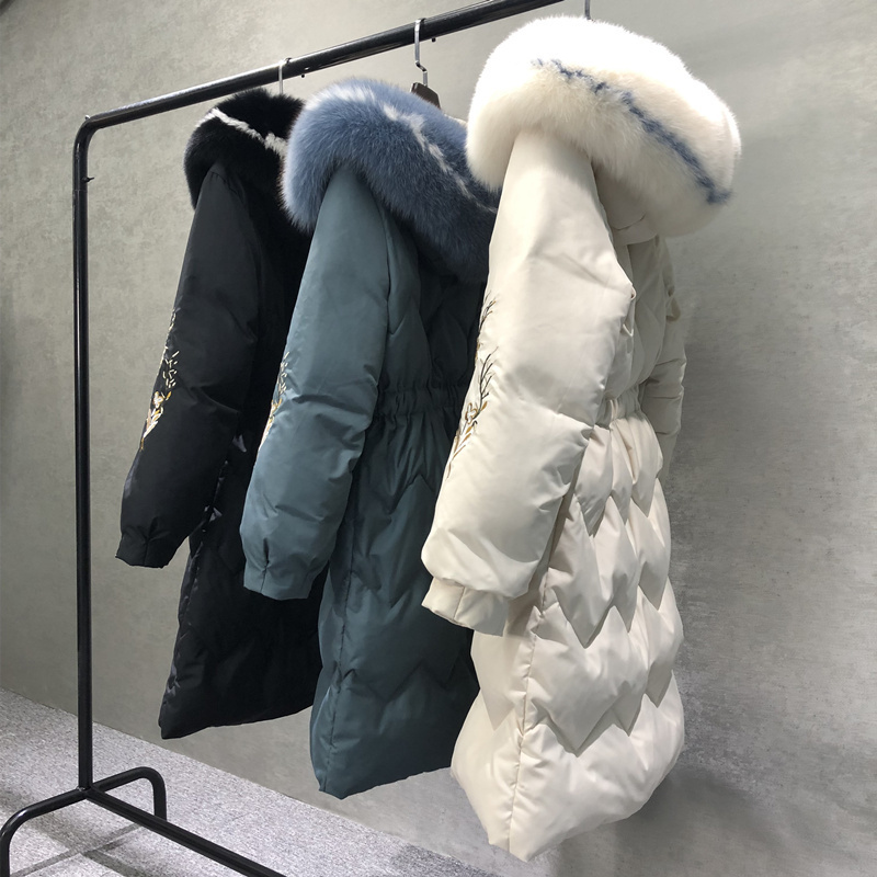 AYUSNUE Women's Winter Down Jacket Long White Duck Down Coat Women Real Fox Fur Collar Puffer Jacket Casaco KTL-2067 YY1206