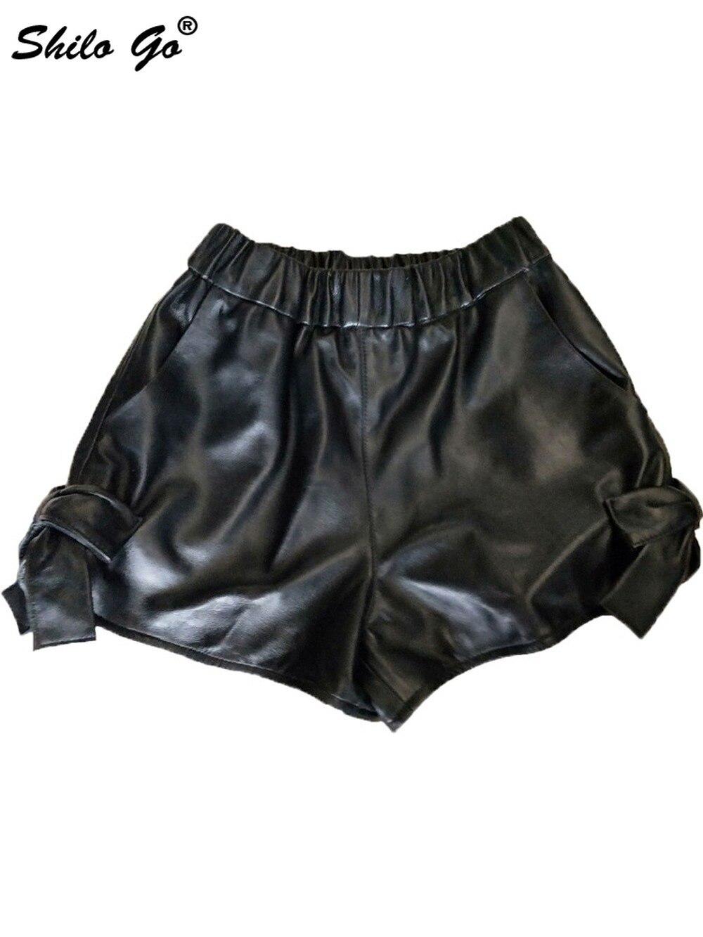 Шорты из натуральной кожи, черные, со шнуровкой сбоку, эластичная талия, широкие шорты, женские осенние повседневные, высокие, воланы, минималистичные ботинки, шорты - 2