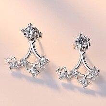 Fashion Cubic Zirconia Fancy Crystal Flower Stud Earrings Pearl Jewelry for Women Girls Jewellery Valentine Day Gift
