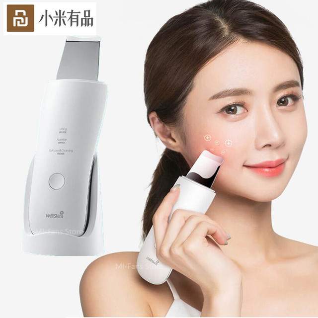 Youpin Wellskins Professional Ultrasonic Facial Skin Scrubber Deep Face Cleaning Blackhead remove Rechargeable Beauty Instrument
