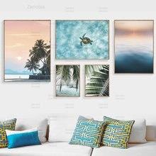 Пейзаж цитаты холст живопись пальмовый лист черепаха пляж скандинавские
