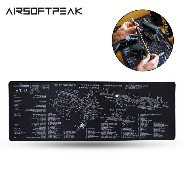 Airsoft AR15 fusil pistolet tapis de nettoyage avec pièces diagramme Instructions Armorer banc tapis chasse pistolet accessoires tapis de souris tactique