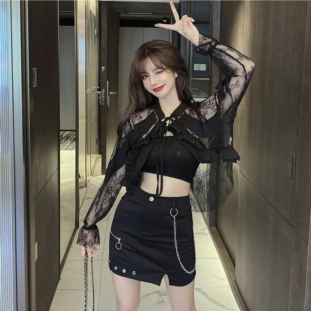 Black Sexy Ruffle Short Blouses High Waist Lace Hollow Women Tops Sexy Blusas Female Long Sleeve Office Shirts Outerwear TA4952 3
