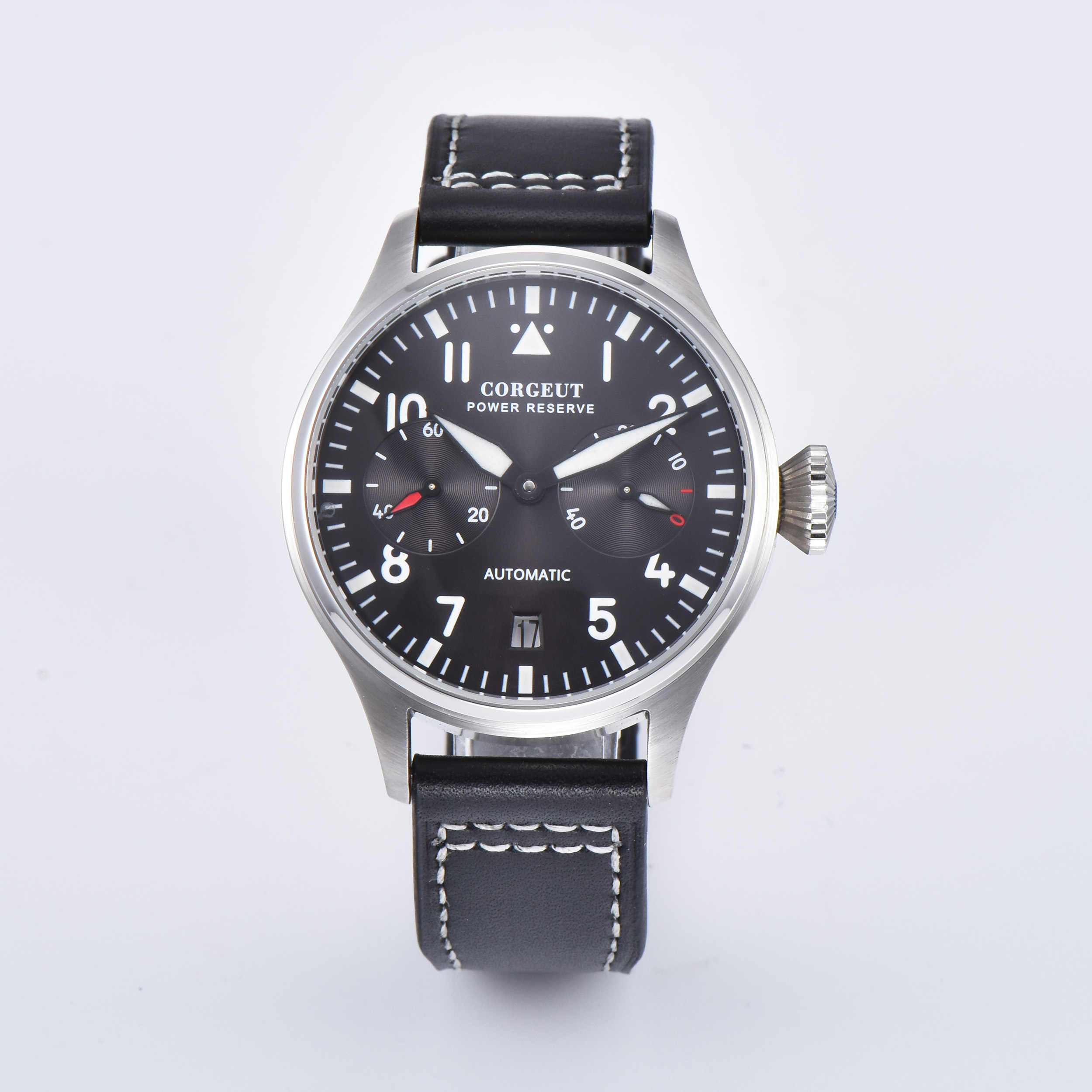 Corgeut 42mm Date black dial Power Reserve Window Leather Automaitc Men's Watch