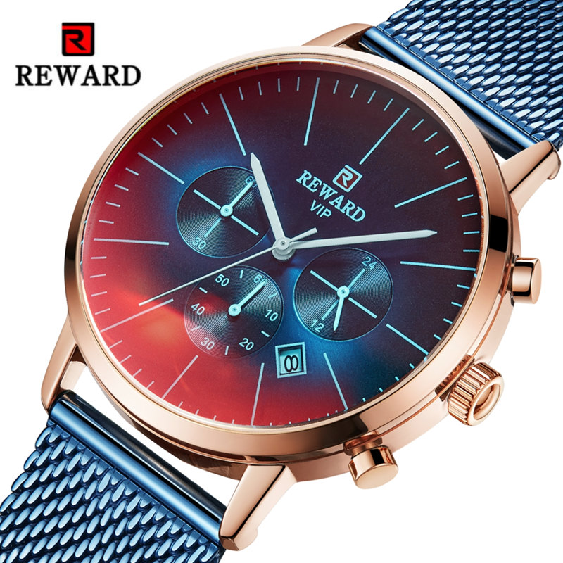 REWARD Luxury Men Watch Chronograph Male Quartz VIP Creative Waterproof Men's Wist Watch Brand Stainless Steel Business Clock
