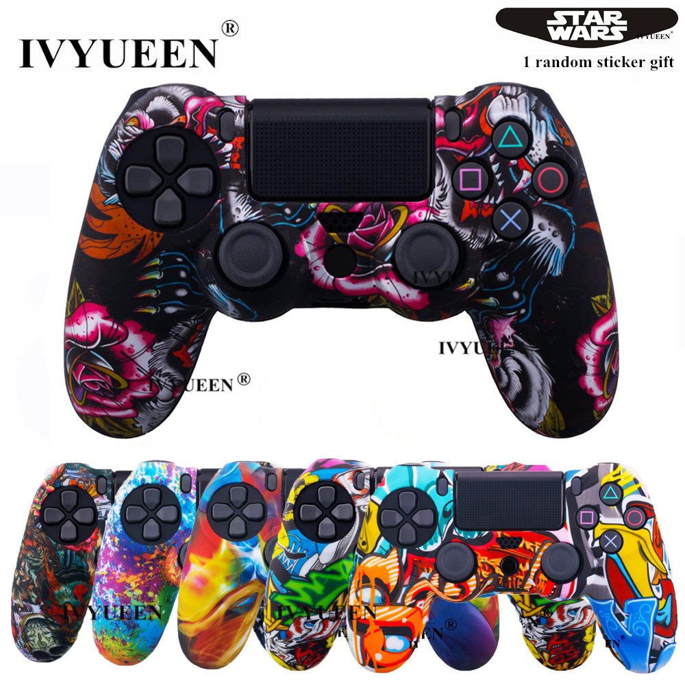 IVYUEEN 45 Colors Silicone Skin Case For Playstation Dualshock 4 PS4 Pro Slim Controller Protective Cover Thumb Joystick Grips