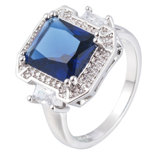 Fashion Women Big Cubic Zirconia Copper Jewelry Wedding Ring Blue Glass Ring Anel Masculino Bagues Pour Femme Engagement Ring