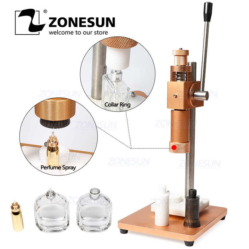 ZONESUN 13/15/18/20mm Dual Use Manual Perfume Bottle Crimping Machine For Sprayer Collar Ring Capper Perfume Capping Machine