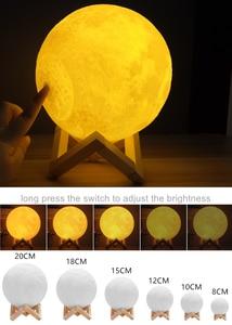 Image 3 - Dropship Foto/Texto Personalizado Lua Luz Da Noite Da Lâmpada 3D Impressão Recarregável Personalizado Sincronismo Luz Da Lua Presente para As Crianças, namorada