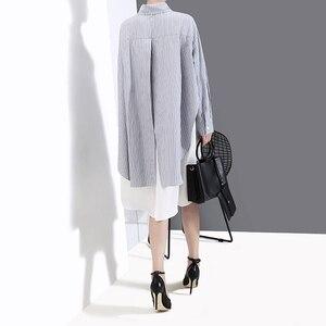 Image 5 - [Eam] 女性のストライプにスプライシング特大シャツドレス新ラペルネック長袖ルーズフィットファッションタイド春秋2020 1A882