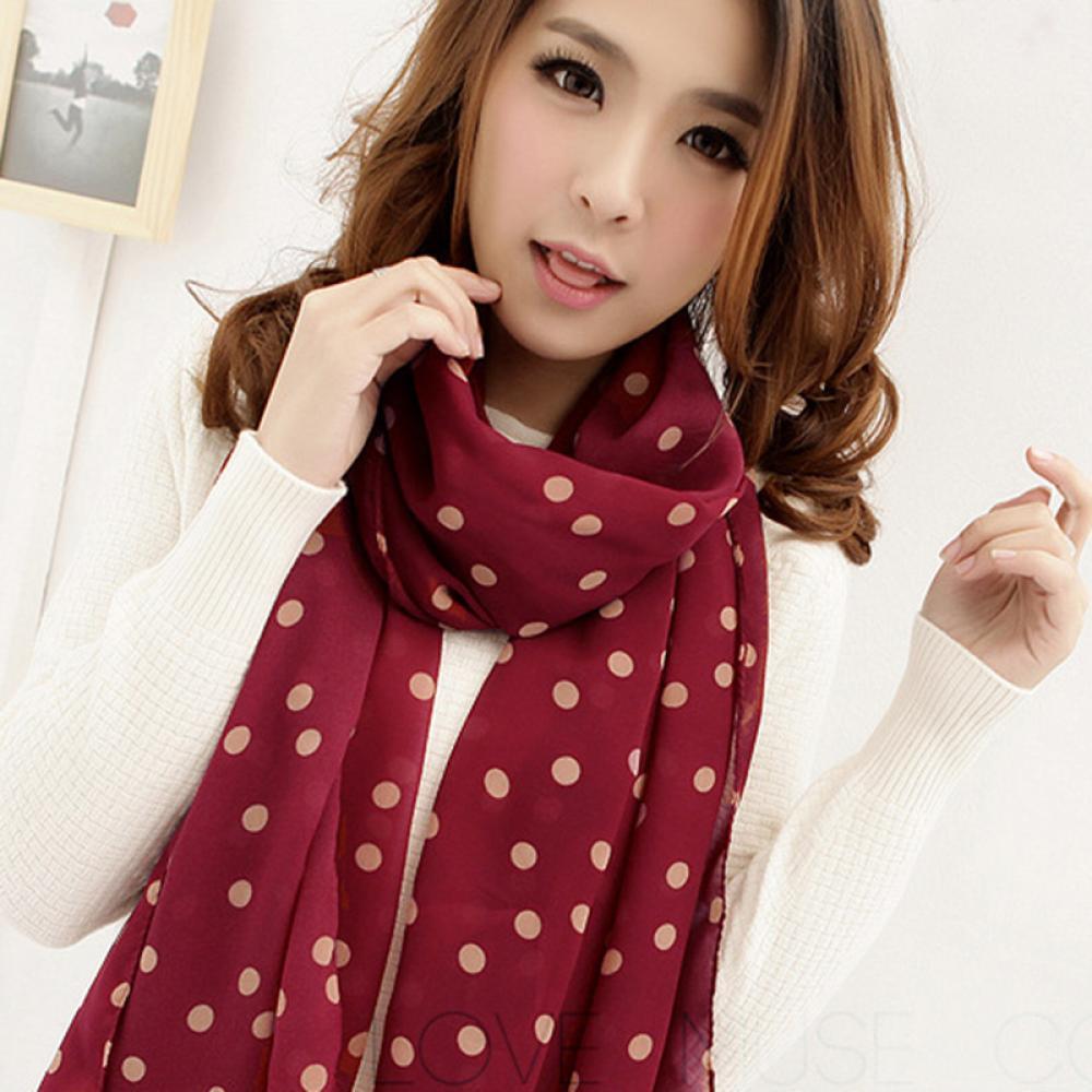 Women Lady Grid Dot Scarf Long Chiffon Soft Silky Wrap Shawl Scarves New Style Classic Black Dot