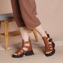 Lato nowy Retro grube obcasy wyciąć Peep Toe Handmade szycia prawdziwej skóry kobiet buty do kostek sandały damskie 20210330