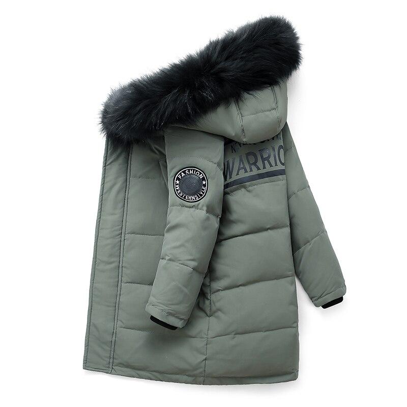 Детские пуховики для мальчиков; Зимние парки для детей 10-12 лет; Теплая теплая детская куртка с капюшоном и натуральным мехом для подростков