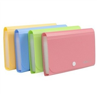 Plastic Candy Color A6 File Folder Small Document Bags Expanding Wallet Bill Folders for Documents blue pink file holder