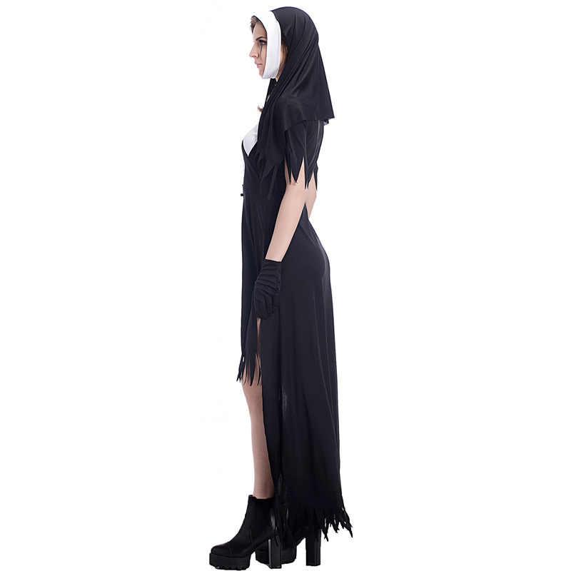 Seksi meryem ana dini katolik rahibe Cosplay kostüm cadılar bayramı karnaval parti korku zombi vampir cadı Masquerade elbise