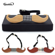 New Style Casual Men Beard Wooden Bow Tie Wedding Solid Wood Wood Bow Tie Can Be Printed Logo Wedding Wooden Bow Tie premium handmade wooden bow tie for men