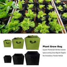 Plant Grow Bag Square Thickened Felt Non-woven Space-saving Grow Bag for Vegetable Strawberry Tomato Herbal Garden Supplies