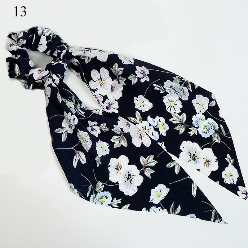 Bohème grande fleur chouchous longs banderoles arc cheveux écharpe femmes filles doux cheveux corde cravates mode cheveux accessoires chapeaux 29