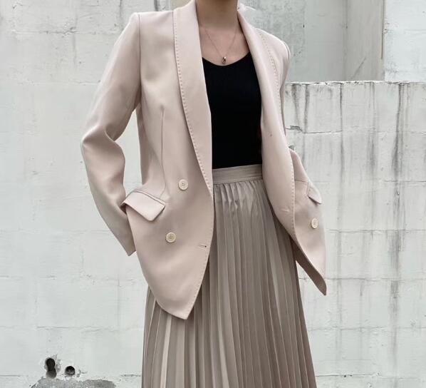 Toppies 2020 Spring Autumn Double Breasted Blazer Korean Fashion Jacket Chic Jackets