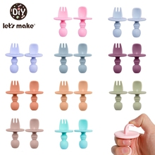 Let's Make Children's Tableware Baby Dishes Set Silicone Fork Spoon Set Feeding Food Children's Dishes For Games Soft BPA Free