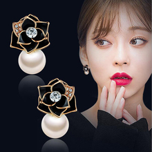 Top Sale Natural Pearl Earrings Fashion Rose Flower with Rose Gold Color Women Dangle Drop Earrings for Wedding/Party ED0024 недорого