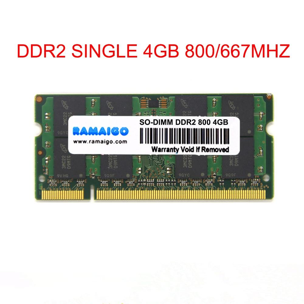 Memória do caderno de 8 gb 2x4 gb de sodimm 4 gb ddr2 800 mhz ram ddr2 667mhz para toda a memória do portátil de intel amd único ddr2 4 gb ram