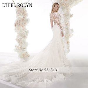 Image 2 - ETHEL ROLYN Romantic Mermaid Wedding Dresses 2020 Long Sleeve Sexy Sweetheart Shining Illusion Wedding Gowns Vestido De Noiva