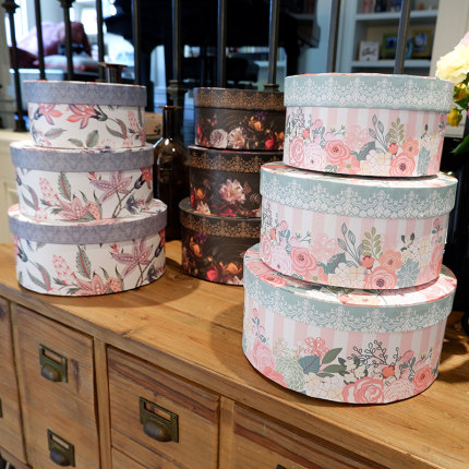 Floral Gift Boxes 3pcs Round Candy Jewelry Packaging Boxes Vintage Flower Boxes With Lids