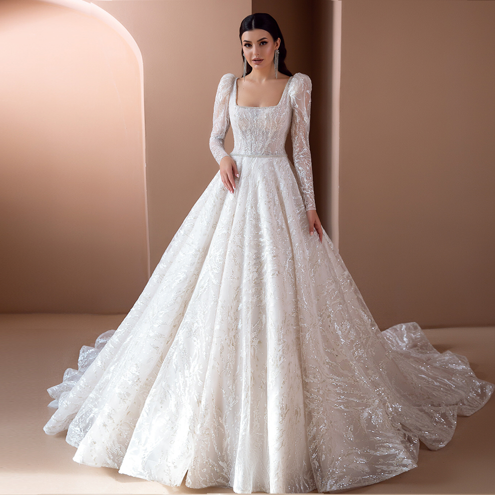 Vestido De Noiva Long Sleeve Ball Gown Wedding Dress Beading Belt Robes De Mariage Luxury Trouwjurk Illusion Back Suknia Slubna
