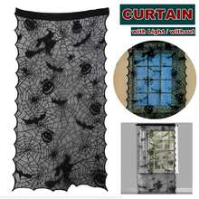 DIY Halloween Decoration Curtain with Light Bats Spider-Web Witch Spooky Lace Door Window Curtain for Home Party Christmas Decor(China)