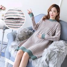 Dress Sweater Breastfeeding-Clothes Postpartum Pullovers Lactation Elastic Knitted Autumn