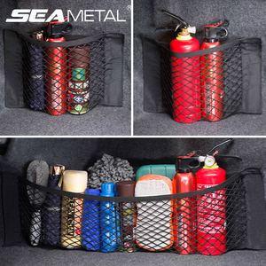 Image 1 - Mesh Trunk Car Storage Organizer Bag 40/50/60/80*25CM Mesh For Trunk Luggage Holder Pocket Sticker Nylon Auto Organizer In Trunk
