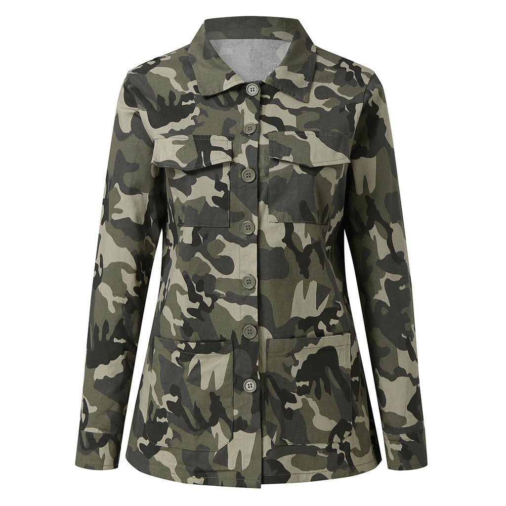 Hf399d64a256e4677a642cbee6d54d1d4u Jacket Camouflage Coat Fashion Military Women Autumn Outwear Hot Sale Button Casual Army Green Women Jacket Outwear#J30