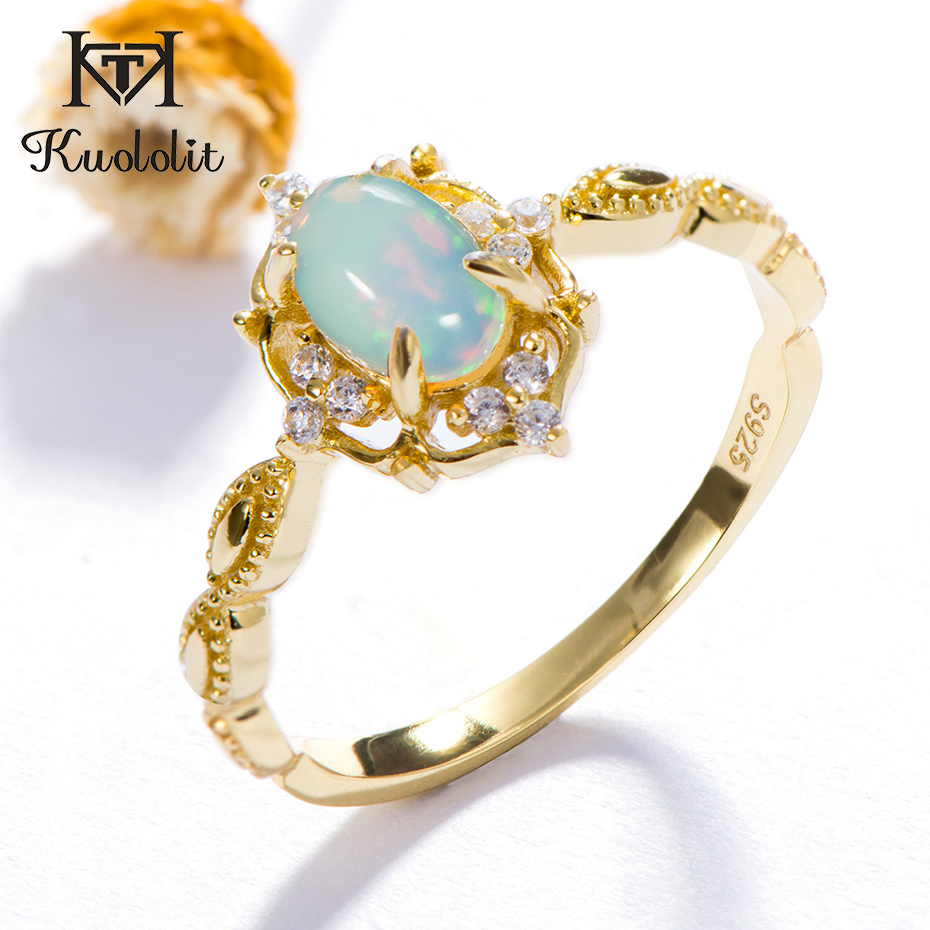 Kuololit Natural Opal Gemstone Rings For Women 925 Sterling Silver Fire Stone  Ring Size 10 Engagement Bride Gift Fine Jewelry