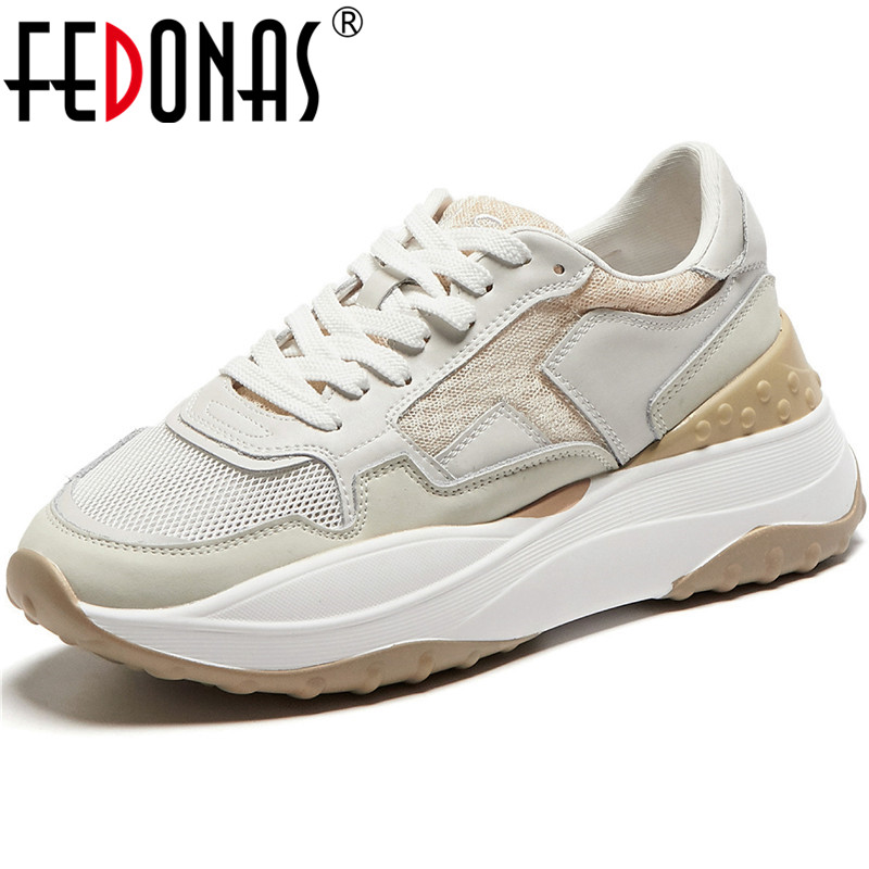 FEDONAS Popular Patchwork Genuine Leather Pink Sneaker Women Comfortable Retro Platform Flats Student Running Sport Shoes Woman 1