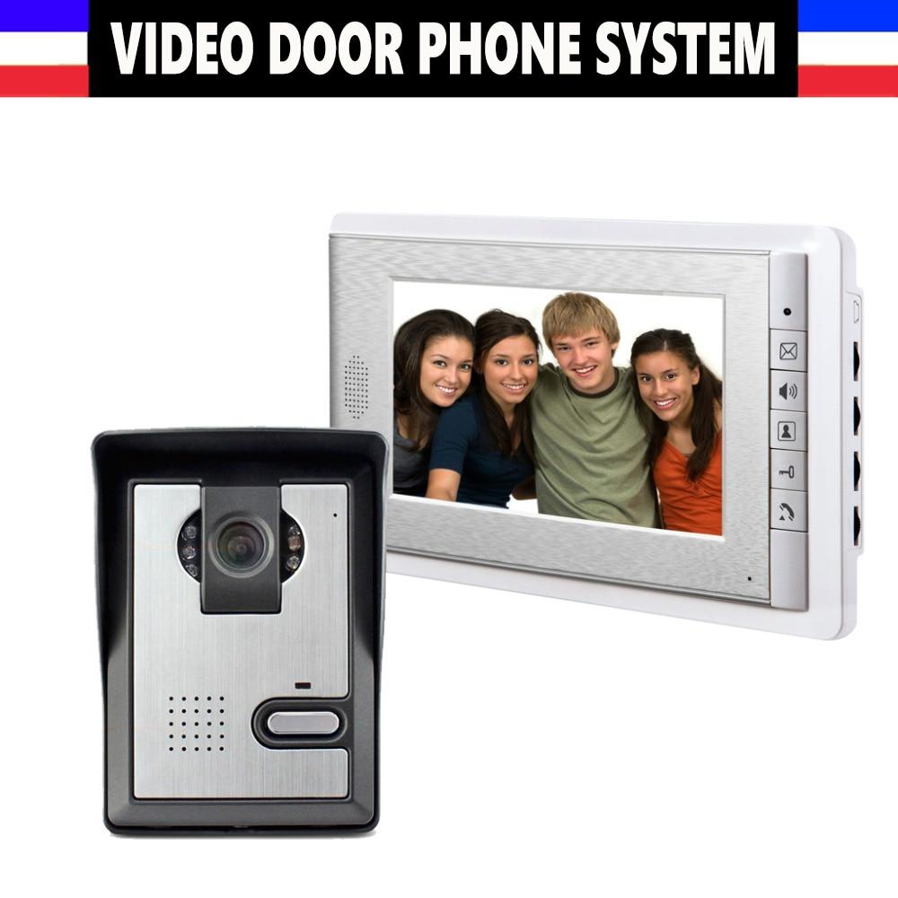 7'' TFT LCD Wired Video Door Phone Visual Video Intercom Speakerphone Intercom System With Waterproof Outdoor IR Camera For Home