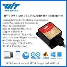WitMotion HWT905 גבוהה דיוק 0.05 ° צבאי בדרגה חיישן מד שיפוע 9 ציר AHRS חיישן עמיד למים IP67 & אנטי רטט