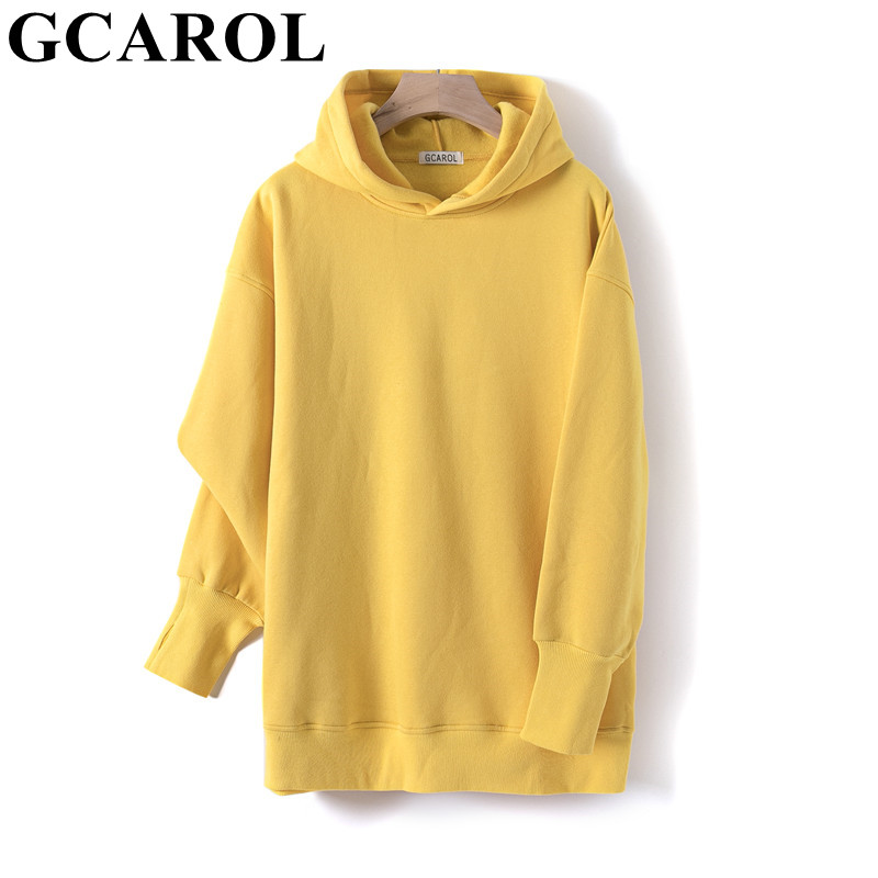 Permalink to GCAROL Fall Winter Women Extra Long Hooded 80% Cotton Fleece Candy Jersey Drop Shoulder Oversized Boyfriend Style Sweatshirt