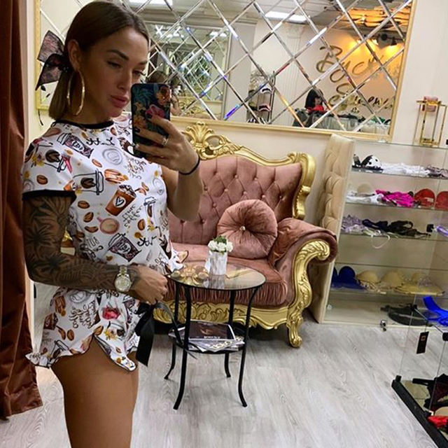 Funny Sleepwear Crop Top and Shorts Women Sets Two Piece Outfits Fashion Tracksuit