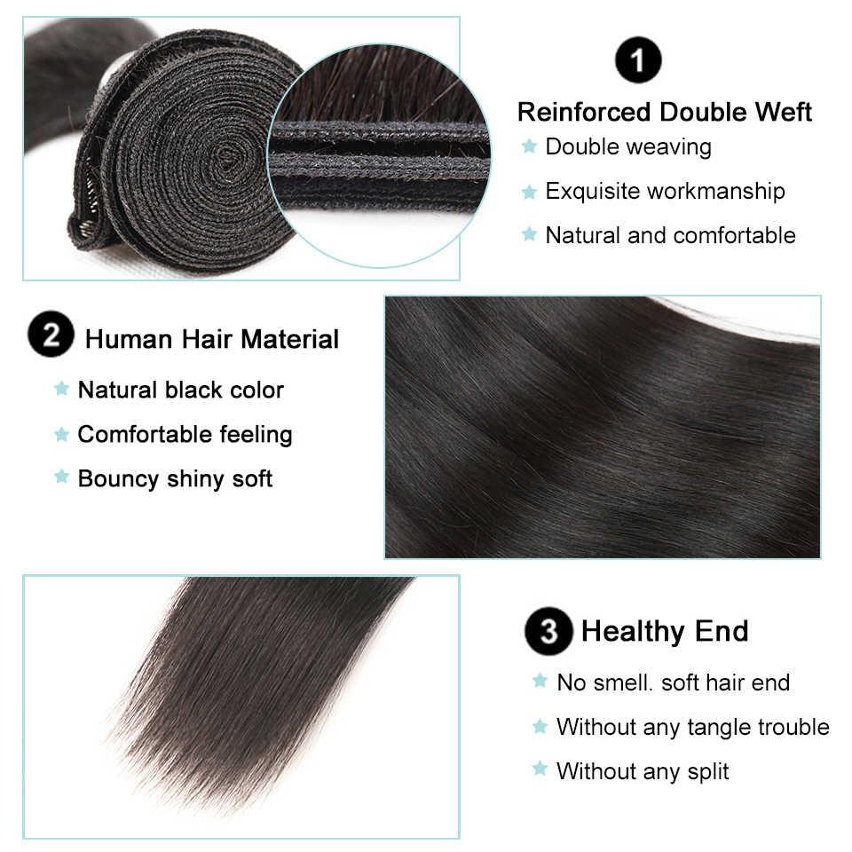 Mechones de pelo liso de perla negra con cierre pelo humano no Remy 3 mechones con cierre mechones de pelo peruano con cierre