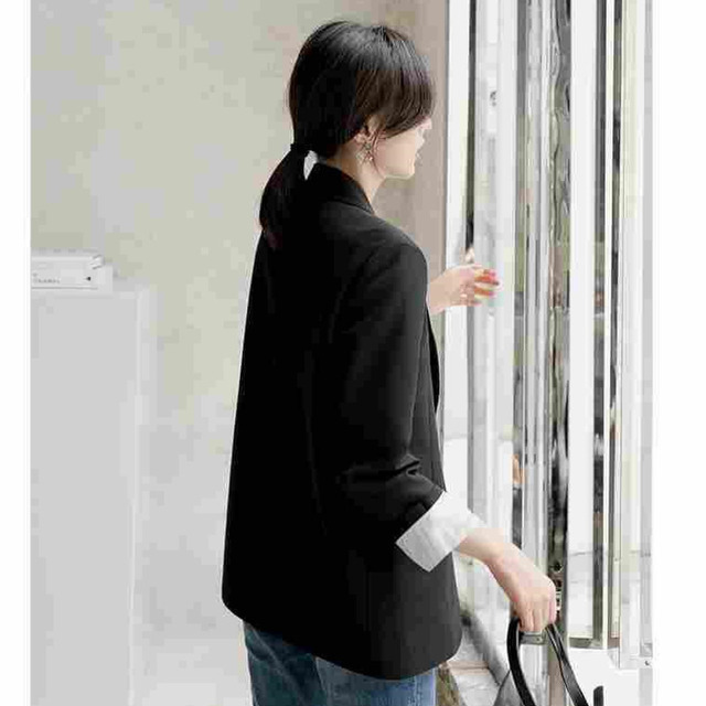 Peonfly New 2021 Autumn Fashion Blazer Jacket Women Casual Korean Pockets Long Sleeve Coat Office Ladies Solid Loose Blazer 5